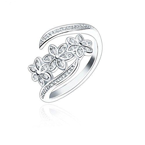 Orris Princess of Ocean Mermaid Sterling Silver Blue Crystal Adjustable Free Size Open Ring …