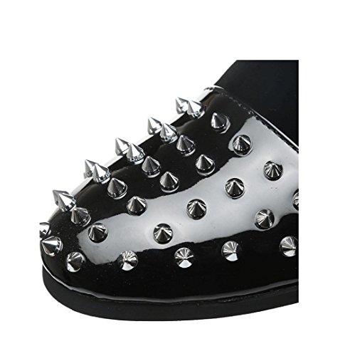WZG zapatos zapatos de los hombres de Inglaterra respirables de los hombres estilista remache casuales zapatos perezosos negro Black