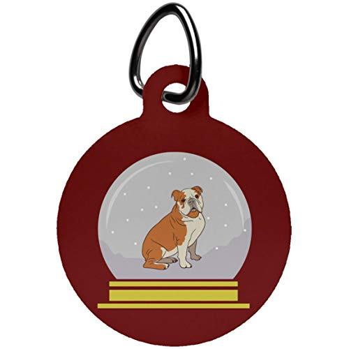 Weezag Snow Globe Bulldog Pet Collar Tag Charms, Funny Gifts for Dog Lovers, Circle