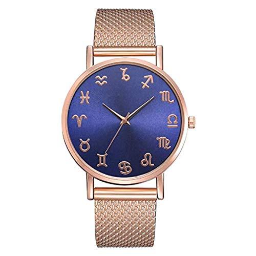 Constellation Ladies Quartz Small Watch - ICHQ Fashion Women's Men's Mesh Belt Watch, Fashion Multi-Color Watch Personality Constellation Scale Dial Quartz Watch (B)