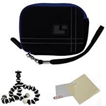 BLUE Aero Bumb Travel Protection Slim Soft Micro-Suede Cover Carrying Sleeve Case Smart Design with Extra Accessory Pocket For Canon PowerShot IXUS 110 IS ELPH SD960 IS IXY 510 IS ( PC1356 ) / 990 IS ELPH SD970 IS IXY 830 IS ( PC1357 ) / 120 IS ELPH SD940 IS IXY 220 IS ( PC1430 ) / 200 IS ELPH SD980 IS IXY 930 IS ( PC1437 ) / 220 HS ELPH 300 HS IXY 410F Digital Point And Shoot Camera + Includes a Universal Anti-Glare Screen Protector Guard + Includes 6 Inch Mini Tripod