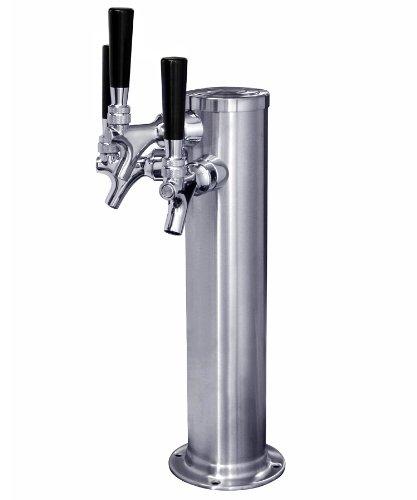 Kegco KC D4743TT-BRUSH Draft Beer Tower Brushed Triple Faucet, 3'' Column, Stainless Steel