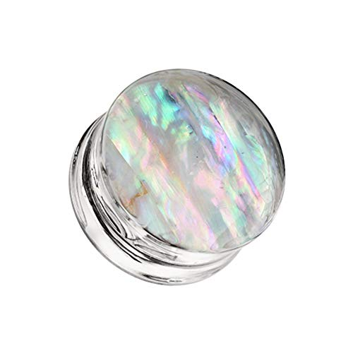 Covet Jewelry Mother of Pearl Inlay Double Sided Ear Gauge Plug (3/4