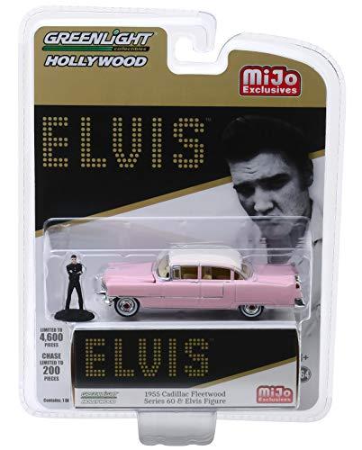 Greenlight Hollywood Elvis 1955 Cadillac Fleetwood Series 60 with Elvis Figure 1/64 Diecast Model Car 51210