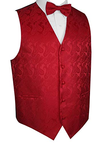 Brand Q Men's Tuxedo Vest and Bow-Tie Set-Red Paisley-L