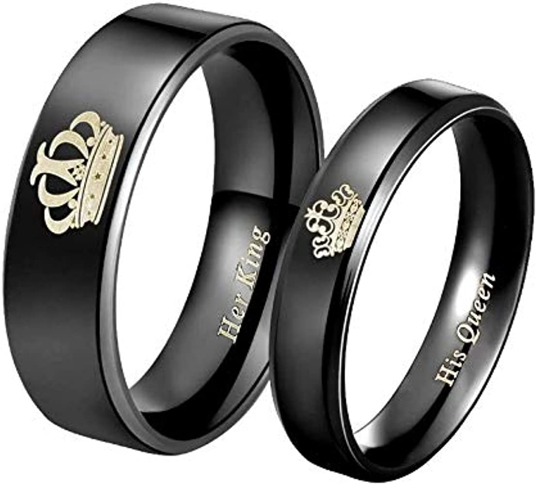 King /& Queen Rings Anniversary Rings Gift for Him Personalized Titanium Rings His and Hers Ring Gift for Her SHJTRB206