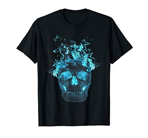 Blue Flame Skull T Shirt