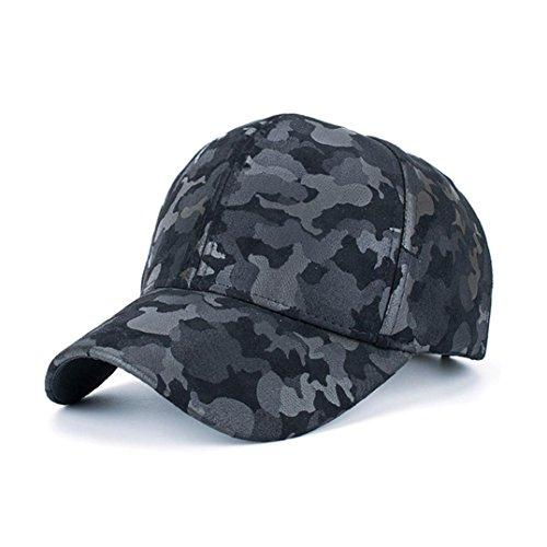 Black Suede Camo (KaiCran Women Men Camouflage Baseball Cap Snapback Hip Hop Flat Hat (Black))