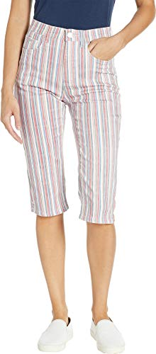FDJ French Dressing Jeans Women's Multi Stripe Suzanne Pedal Pusher in Red Multi Red Multi 8 17
