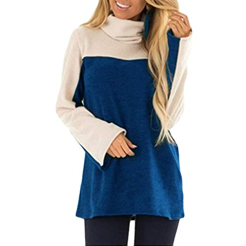 haoricu Women Turtle Neck Pullover Long Sleeve Vintage Color-Block Long Sleeve Top Blouse T-Shirt