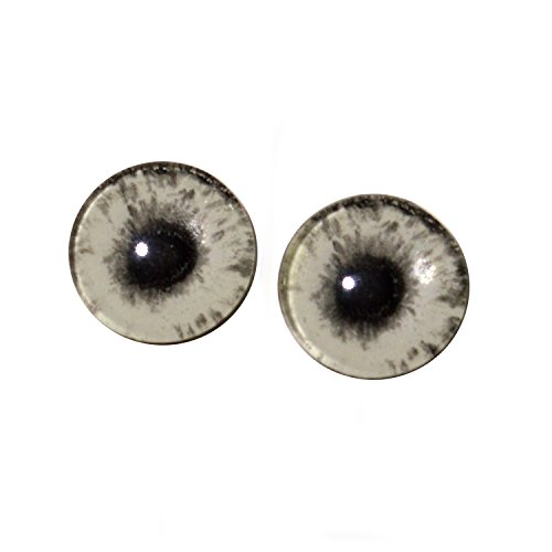 16mm Glow in the Dark Eyes - Human Zombie Glass Eyes Pair - Peel and Stick Adhesive Backing - For Art Dolls, Jewelry Making, Taxidermy, Scrapbooking, and More