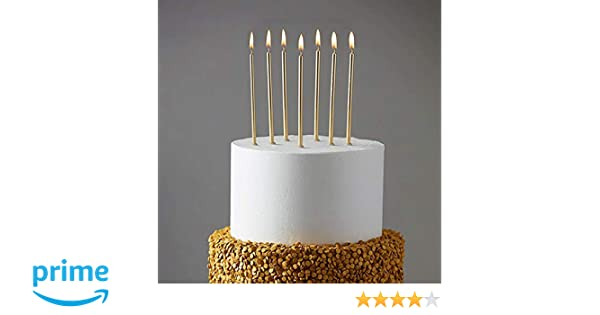 Amazon 24 Count Party Long Thin Cake Candles Metallic Birthday In Holders For Cakes Cupcake Champagne Gold Home Kitchen