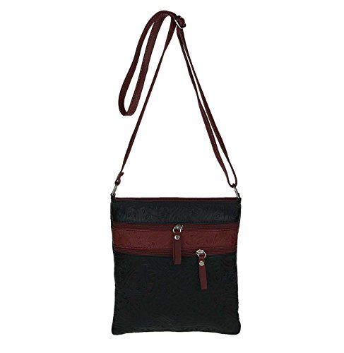 Obc Made In Italy Vintage Style rétro ornements sac à bandoulière en cuir véritable gland tablette ipad mini jusqu'à 8 pouces crossover 23x24x1,5 cm