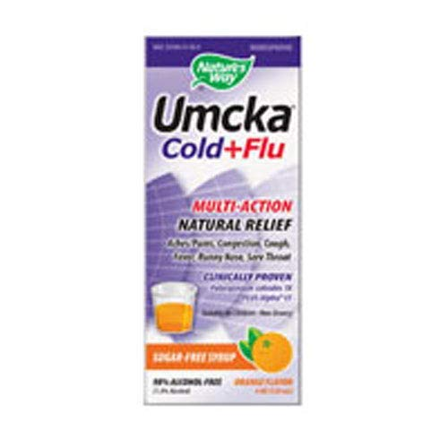 Natures Way Umcka Cold and Flu Sugar-Free Syrup Orange - 4 fl oz pack of -4