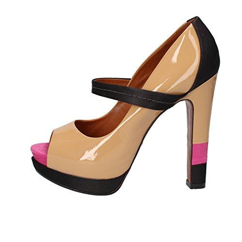 SCHUTZ Zapatos de Salón Mujer 38 EU Beige/Multicolor Charol Textil