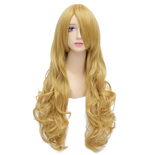 Flovex 32 inches Long Curly Wavy Anime Cosplay Wigs Natural Costume Party Hair (Blonde) (Curly Blonde Costume Wig)