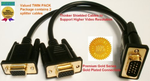 TWIN PACK (2 splitter cables) PTC Premium GOLD Series VGA/SVGA/XVGA Monitor Y Splitter HD15M/2XF 1ft Cable with GOLD Plated connectors