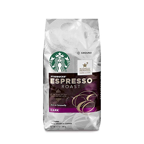 Starbucks Espresso Roast Dark Roast Ground Coffee, 12 Ounce Bag (Pack of 6)