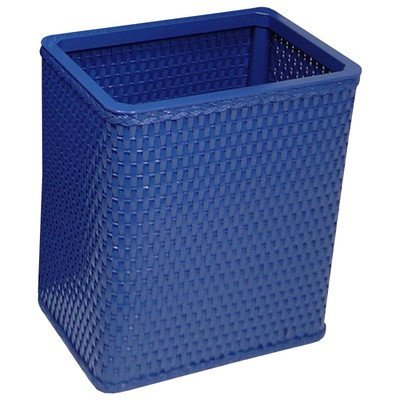 Redmon Chelsea Collection Decorator Color Square Wicker Wastebasket, Coastal Blue