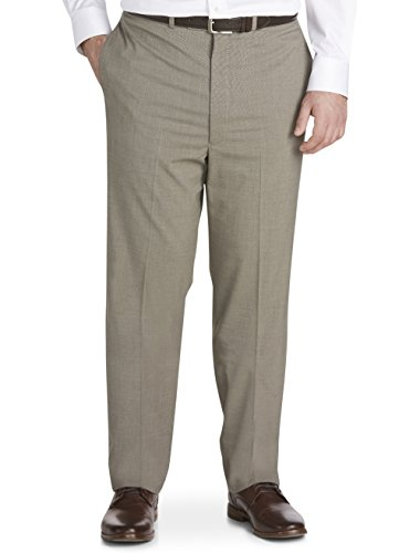 Geoffrey Beene Big and Tall Solid Flat-Front Suit Pants Tan