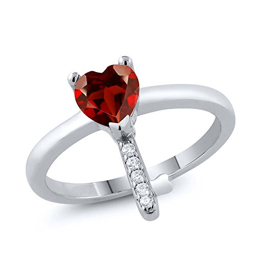0.95 Ct Heart Shape Red Garnet 925 Sterling Silver Key Ring