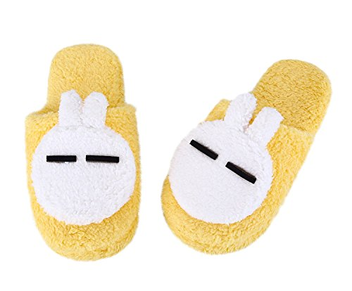 Maybest Dames Comfortabele Fleece Pluche Anti-slip Indoor Slipper Konijn Geel