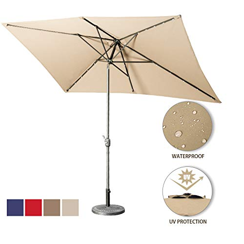 Aok Garden Solar LED Outdoor Umbrella,10x6.5 Feet Square Patio Umbrella with Push Button Tilt and Crank Lift Ventilation,8 Sturdy Ribs Non-Fading Sunshade,Sand
