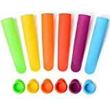 Sunsella Silicone Popsicle Molds/Ice Pop Maker - Multi Color, Set of 6 with Lids - (Bright)