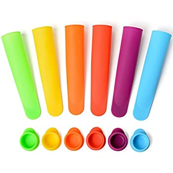 Silicone Popsicle Molds / Ice Pop Maker - Multi Color, Set of 6 with Lids - (Bright) ... By Sunsella
