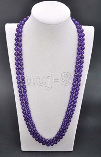 (Fashion Women's Natural 8MM Purple Jade Round Gemstone Beads Necklace 36'')