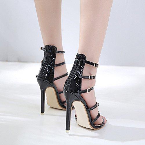 Fiesta Moda Tacón Mujer De Bodas Black Tiras Ahuecada Aguja Sandalias Linyi f8qYx4Y