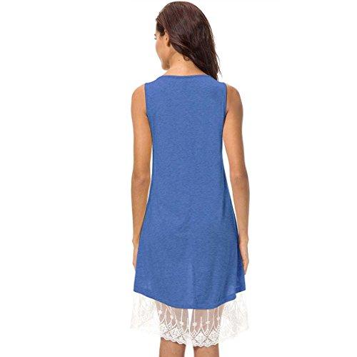 Rappezzatura Del Blu Cosyou Vestito Pullover Womens Di Cotone Serbatoio Maniche Merletto Estivo Abito Rotondo Collare Luce qC5HEw5Znx
