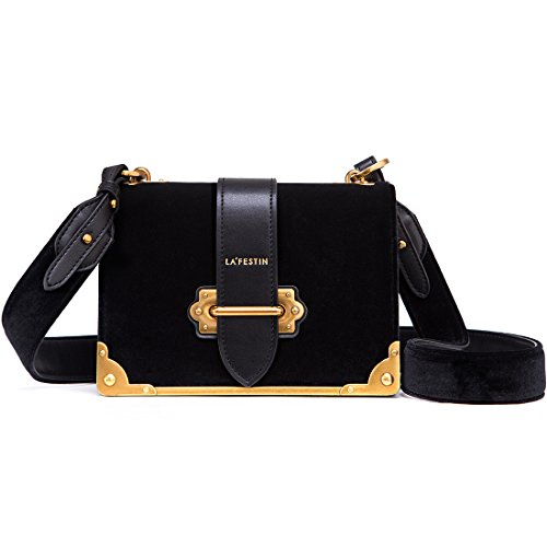 - LA'FESTIN Velvet Leather Shoulder Bag for Ladies Cross Body Handbag Black