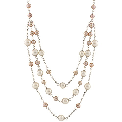 - Tin Cup Station Sterling Silver Chain Freshwater Cultured Pearl Pink and White 3-Row Strands Bib Necklace for Women