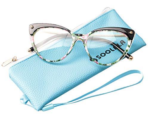 SOOLALA Ladies Oversized Cat Eye Reading Glass Modern Eyeglass Frame