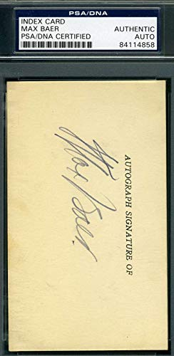 MAX BAER PSA DNA Coa Autograph 3x5 Index Card Hand Signed Authentic