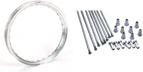 Excel ICS408 Silver 21 x 1.60 36 Hole Takasago Rim and Excel XS9-22217 21 Replacement Spoke and Nipple Kit Bundle