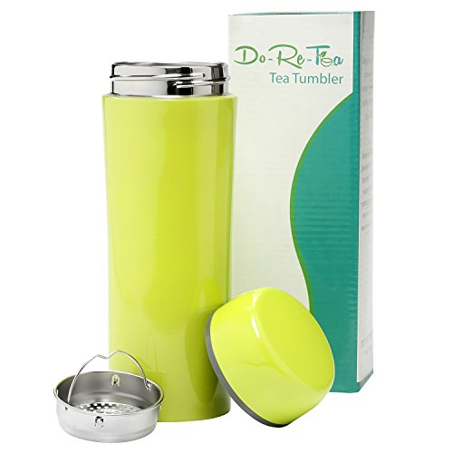 Do-Re-Tea Stainless metal Tea Tumbler together with Strainer 12 Oz, Leakproof and Insulated Tea around Mug, trim and eye-catching Design, together with Filter