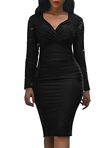 Sexy Tight Formal Dress - Domy Women's Formal Bodycon Dress Floral Lace Panel Ruched Sheath Dress (XL, Black)