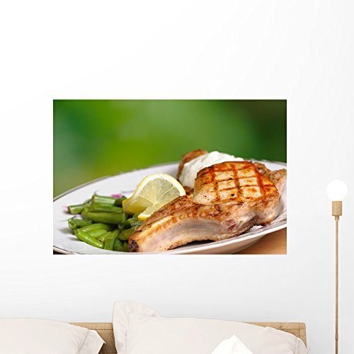 Wallmonkeys Grilled Meat with Vegetables Wall Decal Peel and Stick Graphic WM143736 (24 in W x 16 in H) - Grilled Pepper Steak