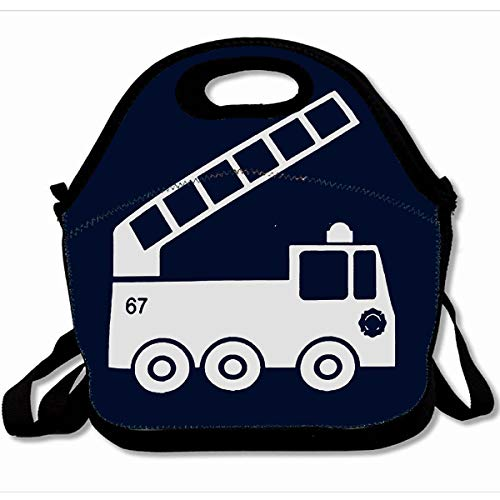 Ahawoso Reusable Insulated Lunch Tote Bag Fire Truck In Navy Blue White 10X11 Zippered Neoprene School Picnic Gourmet Lunchbox]()