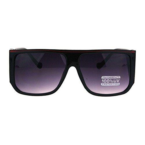 Mens Retro Oversize Mobster Flat Top Rectangular Mafia Sunglasses Black - Glasses Mafia