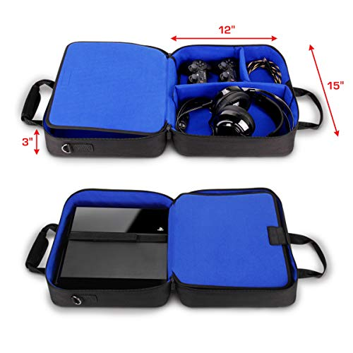 USA GEAR Console Carrying Case Compatible with Playstation 4 / PS4 Slim & PS4 Pro with Accessory Storage for Controllers, Cables, Headsets & Padded Shoulder Strap - Fits All PS4 & PS3 Models - Blue