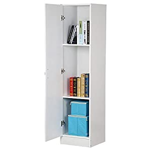 Topeakmart 3 Tier White Single Door Narrow Utility Storage Cabinet With  Adjustable Shelves For Bathroom Office Room