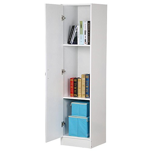 Topeakmart 3 Tier White Single Door Narrow Utility Storage Cabinet with Adjustable Shelves for Bathroom Office Room (Tall Linen Closet)