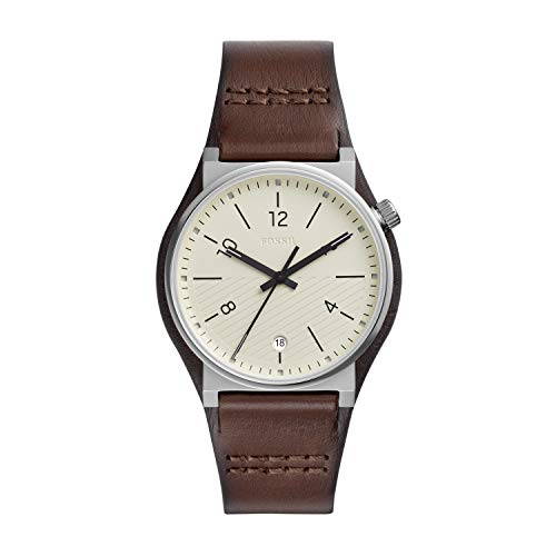 Fossil Men's Barstow Stainless Steel Quartz Watch with Leather Strap, Brown, 22 (Model: FS5510)