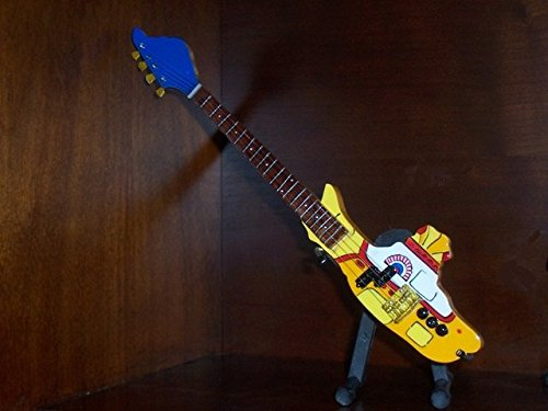 BEATLES YELLOW SUBMARINE Mini BASS GUITAR Statuette GIFT by Little Shop Guitars