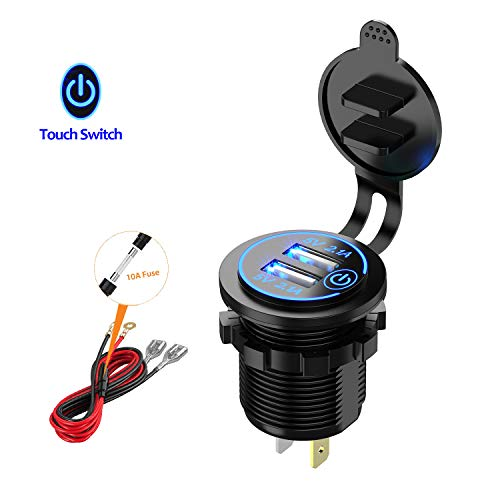 YonHan Dual USB Car Charger Socket with Touch Switch, 12V USB Power Outlet 2.1A & 2.1A (4.2A Total) with LED Indicator for Marine Boat Motorcycle Truck Golf Cart and More