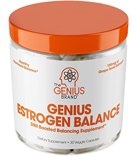 Genius Estrogen Balance - DIM Supplement w/Grape Seed Extract, Dual Estrogen Blocker for Men & Hormone Balance for Women - Aromatase Inhibitor - Cortisol Manager & Thyroid Support, 30 Veggie Pills (Best Hormone Replacement For Weight Loss)