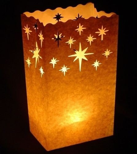 Since White Luminary Bags - 20 Count - Stars Design - Wedding, Reception, Party and Event Decor - Flame Resistant Paper - Luminaria -